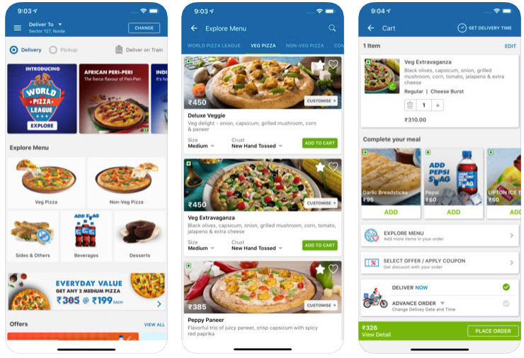 Dominos pizza - food delivery apps