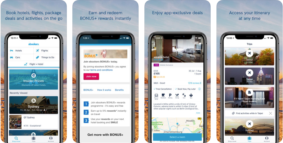 ebookers' travel - hotel booking apps