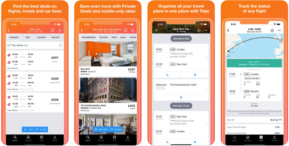 Kayak - hotel booking apps
