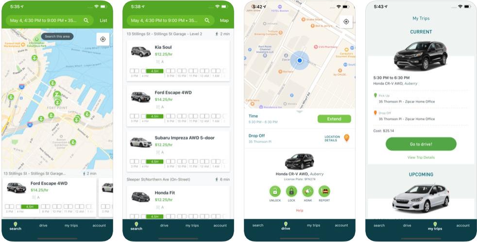 Zipcar - ridesharing apps