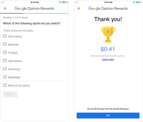 Google Opinion Rewards - money making apps