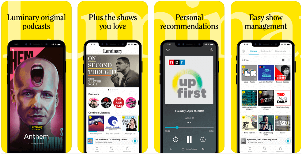Luminary- best free podcast apps