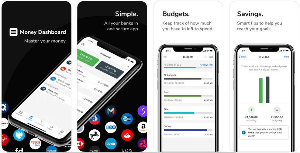 Money Dashboard - best free budgeting apps uk