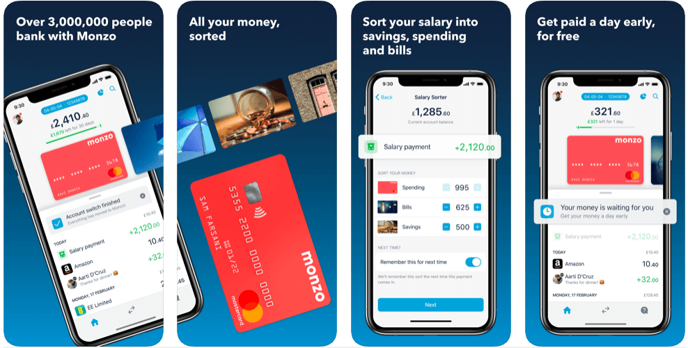 Monzo - best free budgeting apps uk