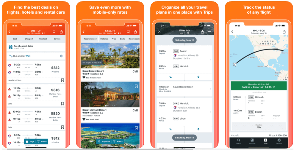 Kayak - flight booking apps