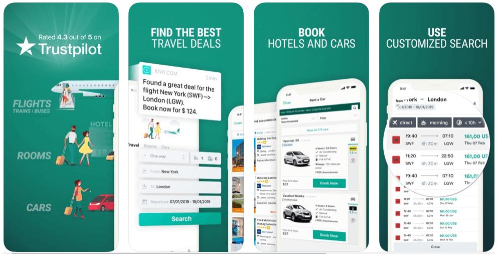 Kiwi - flight booking apps