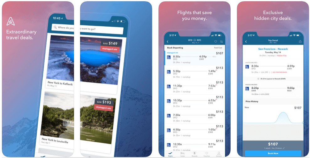 Skiplagged - flight booking apps